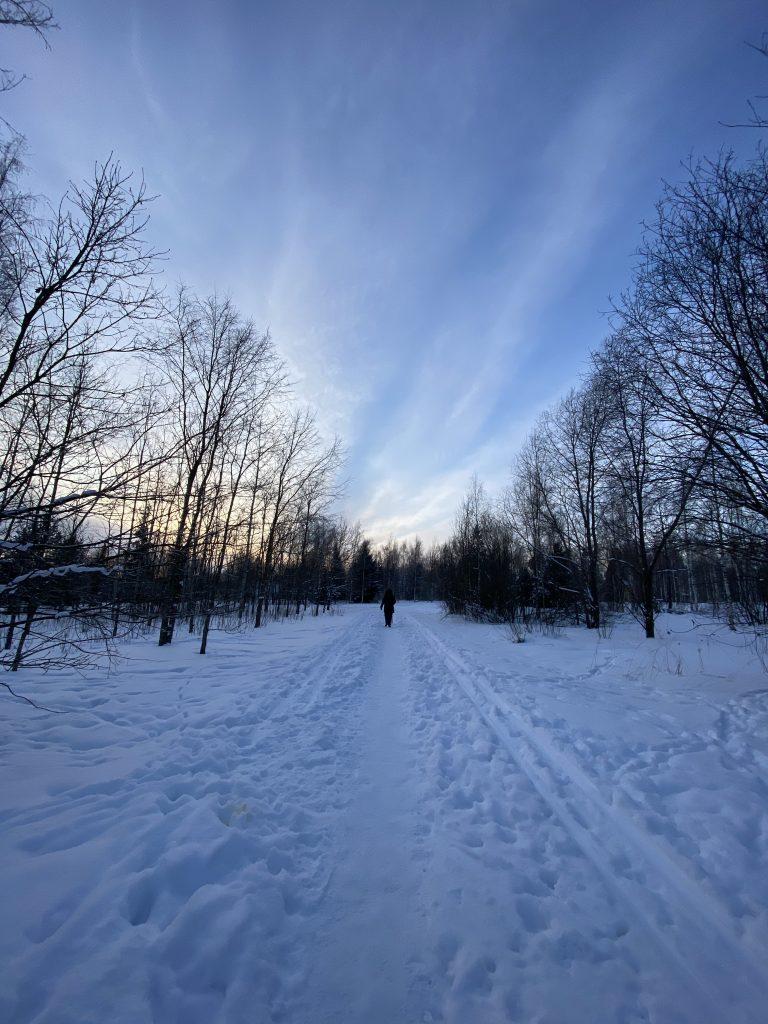 Talvinen maisema auringonlaskun aikaan.